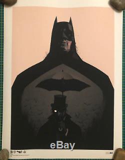 RARE 2 x GENUINE Olly Moss MONDO The Dark Knight Rises AND Batman Penguin prints