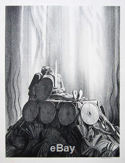 ROCKWELL KENT Signed 1931 Original Lithograph Funeral Pyre (from Beowulf)