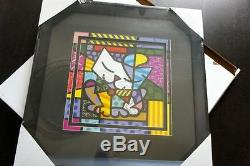 ROMERO BRITTO LARGE SUGAR CAT FRAMED PRINT DISCONTINUED With BLACK FRAME BLACK