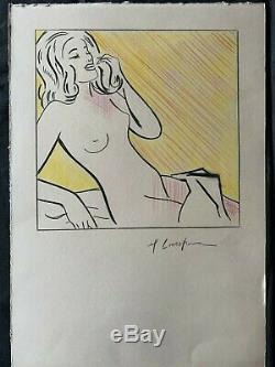 ROY LICHTENSTEIN drawing signed on original paper of 90's