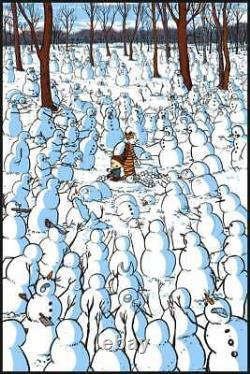 Raid71 Calvin and Hobbes Poster Snow Zombies Mondo Bottleneck Art Print