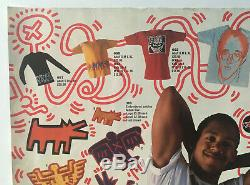 Rare KEITH HARING poster (1986) signed with original drawing warhol basquiat