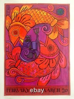 Rare Vtg MID Century Pisces Astrology Lithograph Print Horoscope Zodiac Poster