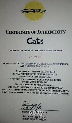 SHAG Josh Agle C is for Cats Serigraph Art Print Unframed Mint COA #41/250 New