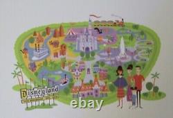 SHAG Josh Agle Disneyland Map Matted Deluxe Lithograph Art Print Disney Mint New