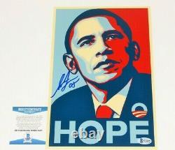 SHEPARD FAIREY STREET ARTIST SIGNED BARACK OBAMA'HOPE' 8x12 PRINT BECKETT COA