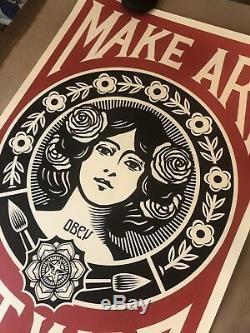 Shepard Fairey Obey Giant MAKE ART NOT WAR Art Print Poster Signed 24x36