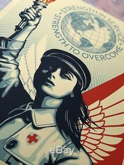 Shepard Fairey Signed Angel of Hope and Strength Print Nurse Doctor Obey Obama