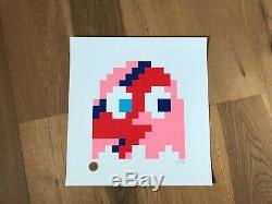 Space Invader Aladdin Sane Print Pinky /65 Signed MINT