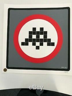 Space Invader Warning Grey Signed Print