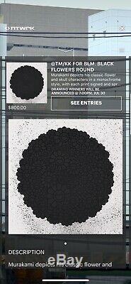 Takashi Murakami Black Flowers Round BLM Black Lives Matter Print Limited To 300