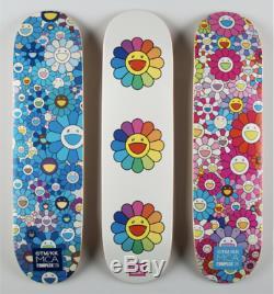 Takashi Murakami Complexcon MCA Skate Decks Set Of 3 white damaged