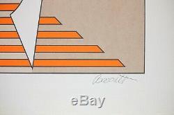 Thomas Barrett Signed, Elegant Modern Abstract Litho, Vintage Serigraph Print