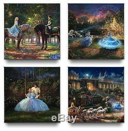 Thomas Kinkade Studios Disney Cinderella Gallery Wrapped Canvases (Set of 4)