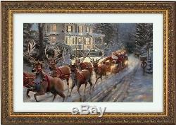 Thomas Kinkade Studios Here Comes Santa Claus 2018 eBay Christmas Print