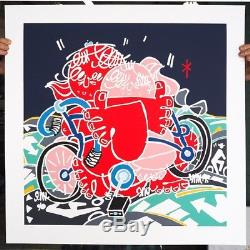 Timothy Curtis Two Cyclists, Earth And Child Print Edition Of 50 Signed Sold Out
