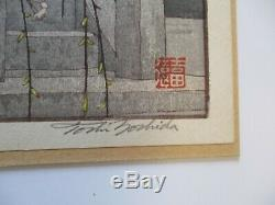 Toshi Yoshida Woodblock Print Fine Japanese Temple Bell Landscape Signed Rare