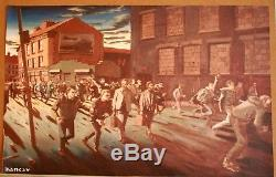 Very Rare Banksy Print On Canvas From 1999 Easton Flat, Bristol Exhibition