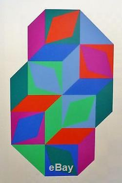 Victor Vasarely Fondation Maeght Hand Signed Numbered Edition 56/200 Serigraph