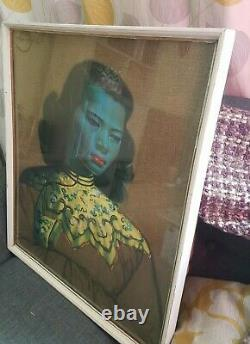 Vintage 1950s Original Tretchikoff Print Chinese Girl Green Lady Framed glass