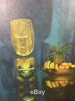 Vintage August Holland Pearl of Wisdom Framed Tiki Print Mid Century Modern