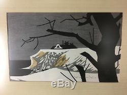 Vintage Kaoru Kawano Woodblock Japanese MCM Modern Stamped Framed Signed