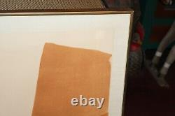 Vintage Mid Century Modern Abstract Lithograph Brown Shapes Signed Ballant