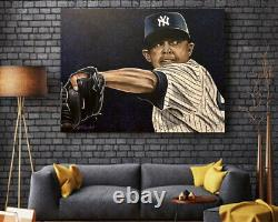 Yankee Mariano Rivera Artist Signed Canvas Giclée Painting 16 x 20
