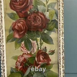 Yard Long Print Roses Red Pink Cottagecore A & P Tea Company 1897 Framed Damage