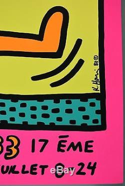 Affiche De L'exposition Keith Haring Originale Montreux 1983 Festival De Jazz Litho Rare