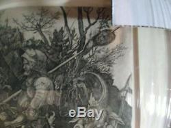 Albrecht Durer (après) Knight La Mort Et Le Diable Ca. 1600 Gravure Encadrée
