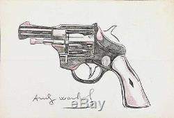 Andy Warhol Crayon De Couleur Sur Papier Épais Dessiné Et Signé À La Main