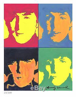 Andy Warhol Édition Signée / Numérotée À La Main The Beatles Litho Print (non Encadrée)