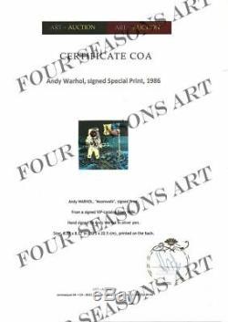 Andy Warhol, Impression Spéciale Moonwalk. Signé À La Main Par Warhol, Comprend Coa