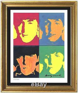 Andy Warhol Signé / Numéroté Main Ltd Edtion The Beatles Litho Imprimer (sans Cadre)