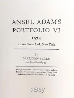 Ansel Adams Vintage Maroon Bells Colorado 1974 Tirage Argentique Signé Coa