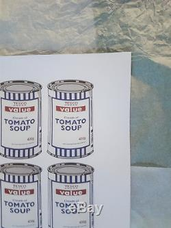 Assiette Affiche Originale De Banksy Soup Cans Signée Authentique Ballon Enfermé