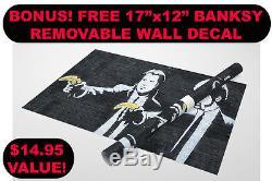 Banksy Collage Toile Tendue Impression Triptyque 48x30. Décalque Mural Bonus Banksy