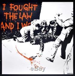 Banksy J'ai Combattu La Loi Et J'ai Gagné Avec Une Sérigraphie Originale Signée