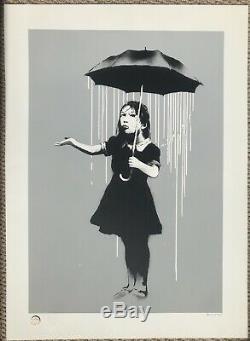 Banksy Nola Signé Imprimé Pluie Blanche Très Rare & Avec Contrôle Antiparasitaire