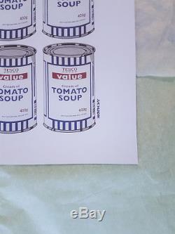 Banksy Soup Cans Lithographie Assiette Affiche Originale Signée Authentique Parée