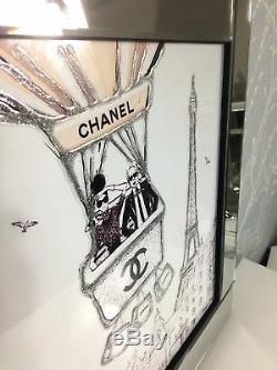 Chanel Paris Ballon Argent Miroir Cadre 60 CM Unique Photo Décor Mur Art Cadeau