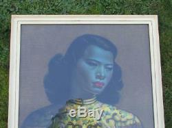 Copie Encadrée Vintage Large Original Original De Tretchikoff Chinese Girl / Green Lady