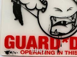 Dface Perspex Plaque Signe Avertissement Chiens De Garde Opérant Dans Ce Domaine Street Art