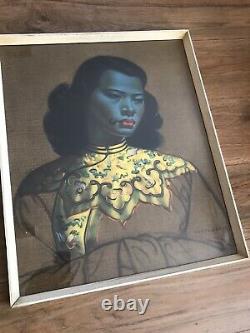 Fille Chinoise Par Vladimir Tretchikoff Dans Le Cadre Vintage Original Impression Précoce