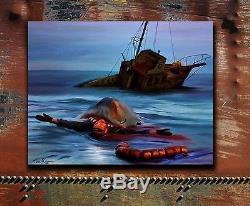 Grande Impression Sur Toile Impressionnante De Jaws Ahab 1975 Grande Peinture Blanche De Requin