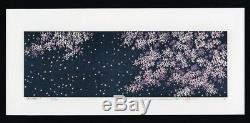 Hajime Namiki Orig Japonais Woodblock Imprimer Fleur De Cerisier En Blight Bleu Nuit