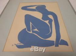 Henri Matisse Abstrait Bleu Femme Lithographie Des Années 1950 Signé H. Matisse