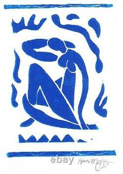 Henri Matisse Print Blue Nude Signé À La Main Édition Limitée Linocut Avec Coa