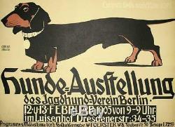 Hunde-ausstellung Dachshund Affiche Du Spectacle Canin Lithographie Tirée À La Main De Georg Belwe